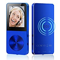 HccToo MP3 Player, 8GB Portable Lossless Sound HIFI Music Player Build-In Speaker 30 Hours Playback With FM Radio/Voice Recorder/E-Book Function Expandable MicroSD Slot Support 32GB (Blue)