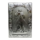 Quadro Sacro Capezzale Capoletto Con Gesù Cornice Via Crucis in Argento