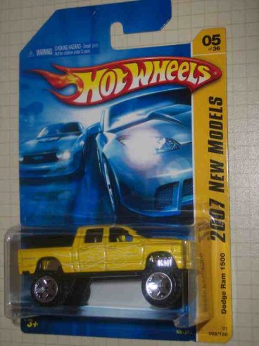 2007-new-models-5-dodge-ram-1500-2007-5-yellow-k-mart-exclusive-collectible-collector-car-mattel-hot