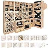 Weinregal / Flaschenregal System CAVEPRO, Regalmodul mit T-Einsatz, Holz Melamin beschichtet, Eiche hell