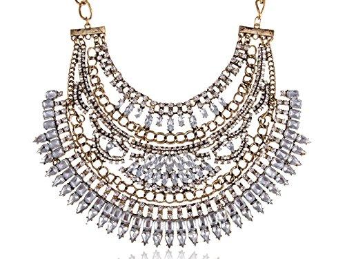 Alilang Gold-Messing Farton Jahrgang Chunky Kristall baumeln Bib Statement (Für Ägyptische Kostüm Frauen Ägyptischen Prinzessin)