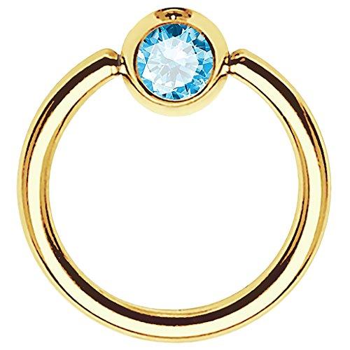 Piersando BCR Piercing Ring Universal Klemmring mit Zirkonia Kristall Klemm Kugel für Septum Brust Tragus Helix Nase Lippe Ohr Intim Nippel Chirurgenstahl Gold Aqua 1,2mm x 8mm x 3mm