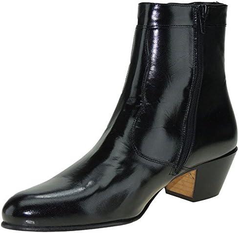 MARTTELY Design. Bota Vestie en Piel Caprina y Tacón Cubano de 5 CM para Hombre - Modelo 508, Color Negro, Talla 40