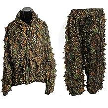 OULII Foglia del camuffamento Woodland Camo Ghillie Suit impostare 3D giungla caccia verde vestito - Ghillie Suits Suit