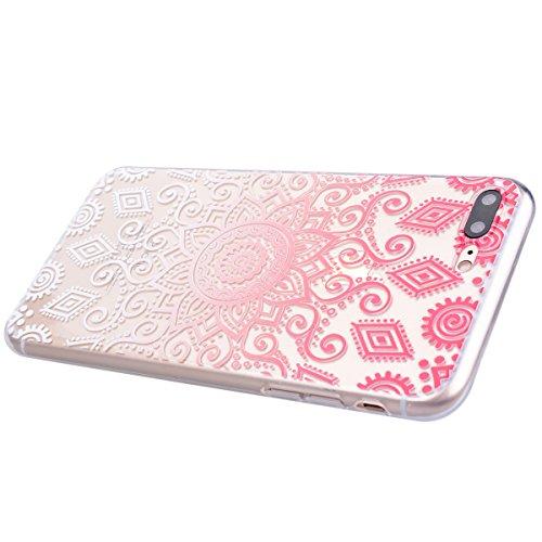 """WE LOVE CASE 2er Pack iPhone 7 Plus 5,5"""" Hülle Weich Silikon iPhone 7 Plus 5,5"""" Schutzhülle Handyhülle Im Durchsichtig Transparent Crystal Clear Blätter Blumen Muster Handytasche Cover Case Etui Soft  Blumen Gyro"""