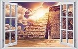 Mexiko Tempel Chichén Itzá Wandtattoo Wandsticker Wandaufkleber F0844 Größe 120 cm x 180 cm