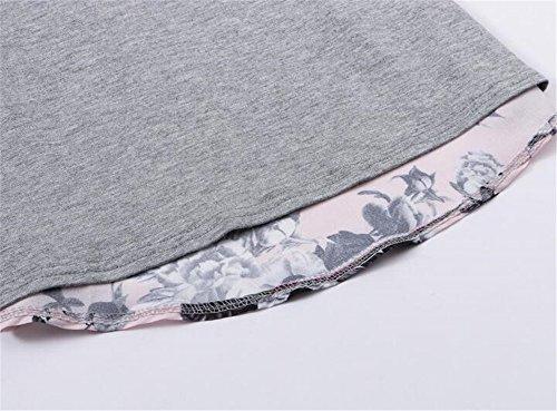 Gogofuture ElÉGant Femme T-shirt Manches Longues Col Rond Blouse Patchwork Floral Imprimé En Mousseline Top Décontractée gray