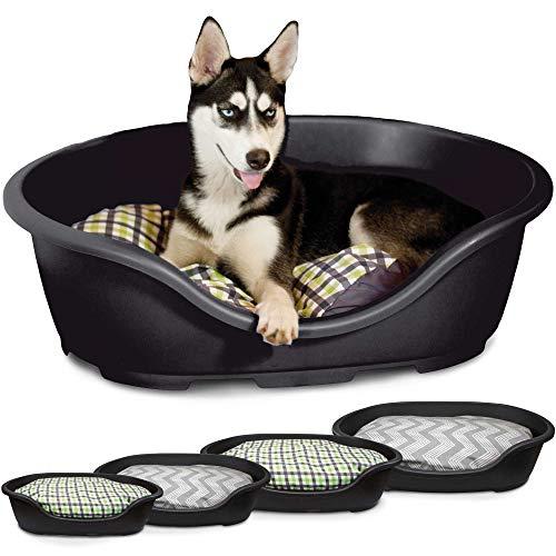 Kunststoff - Hygienekorb, Hundekorb, Farbe: Schwarz, Größe: 71 x 38 x 23 cm - Im Set mit Kissen