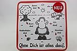 Sheepworld - 45451 - Untersetzer Nr. D1, Ohne Dich ist alles doof., Kork, 9,5cm x 9,5cm