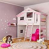 Letto a castello per bambini e ragazzi, colore: crema/bianco/rosa