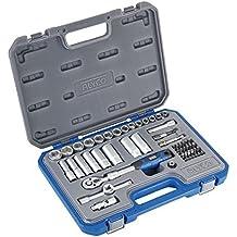 """Alyco 192287 - Juego 54 piezas llaves de vaso 3/8"""" + carraca extensible + adaptadores + puntas en maletin plastico"""