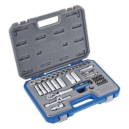 'Alyco 192287 – Jeu 54 pièces clés de douilles 3/8 + cliquet extensible + adaptateurs + embouts en malette plastique