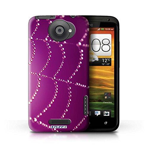 Kobalt® Imprimé Etui / Coque pour HTC One X / Vert conception / Série Toile d'araignée Perles Rose
