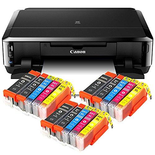 Canon Pixma iP7250 Tintenstrahldrucker mit WLAN, Fotodrucker und CD-Bedruck, Auto Duplex Druck (9600x2400 dpi, USB) + USB Kabel + 15er Set IC-Office XL Tintenpatronen (Originalpatronen nicht im Lieferumfang)