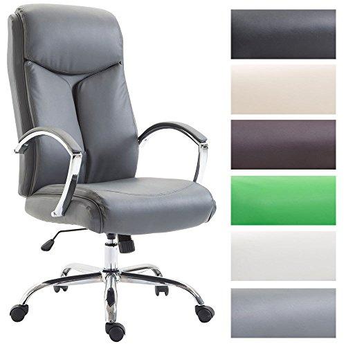 CLP XL Bürostuhl Vaud mit Kunstlederbezug I Chefsessel mit Armlehnen I Bürodrehstuhl mit Einer max. Belastbarkeit von 140 kg I erhältlich Grau