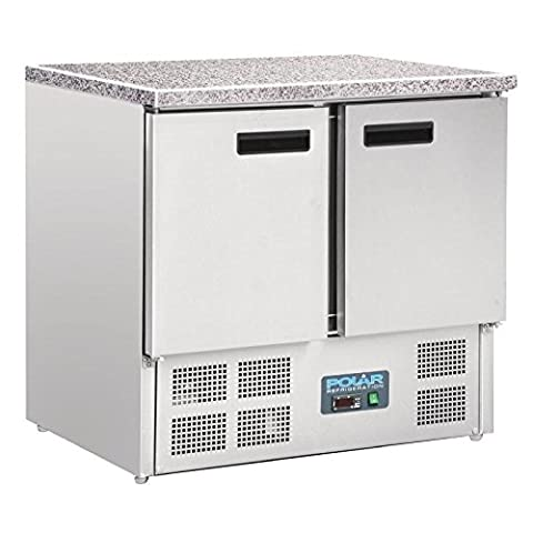 Polar Refrigerated Counter with Marble Work top 2 doors 240Ltr Fridge