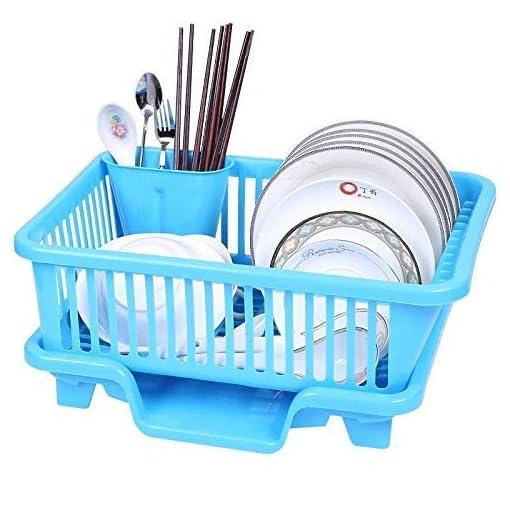 Plastic Kitchen Sink Dish Fruit Drainer Rack Drying Basket Holder Organizer