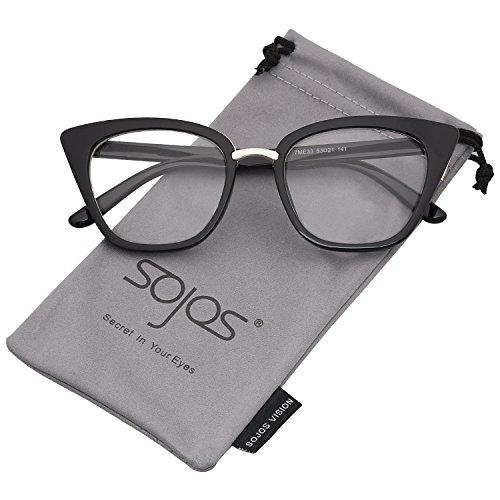 SOJOS Schick Rechteckig Katzenaugen Voll-Rahmen Sonnenbrille Damen Herren SJ2052 mit Schwarz Rahmen/Klar Linse (Brille Klare Linse Schwarzen Rahmen)