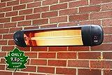 Firefly Chauffage Extérieur Mural de Terrasse Radiant Infrarouge à Halogène avec Télécommande 3 Réglages de Chaleur 2000 Watt IPX4
