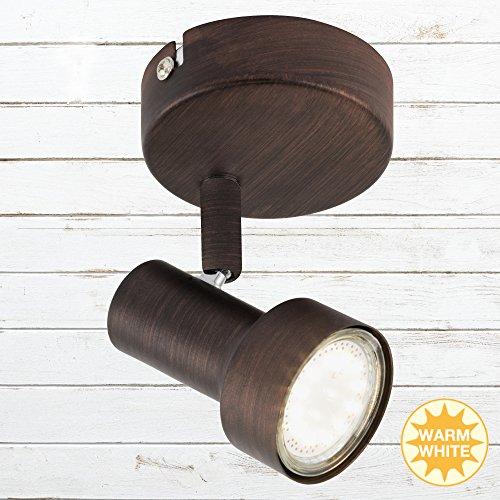 Briloner Leuchten - LED Wandleuchte mit dreh- & schwenkbarem Spot, Wand-Lampe, Strahler in antiker...