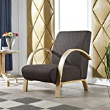 i-flair® - Polstersessel, Lounge Sessel mit hochwertigem Gepolsterten Stoffbezug - Dunkelbraun