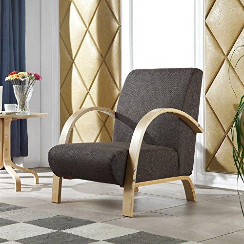 i-flair Polstersessel, Lounge Sessel mit hochwertigem gepolsterten Stoffbezug - Dunkelbraun (Dunkelbraun Sessel)