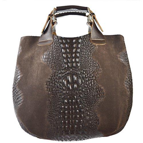 CTM Sac à main de femme en cuir véritable fait dans le modèle Italie Animalier avec bandoulière et sac de tissu intérieure amovible D90071 - 44x30x13 Cm