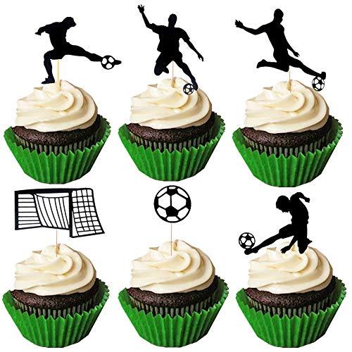 JeVenis - Set di 24 topper per cupcake a forma di pallone da calcio, decorazioni per torte sportive e feste di calcio
