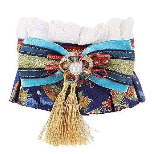 Zarte weiche Baumwolle Haustier Schal Kragen mit Quasten Blume und Spitze Dekoration für Katze Hund(M) Juwel-clip