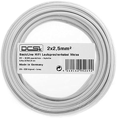 25m 2x2,5mm² | DCSK HiFi Cable para altavoces | 99,99% OFC cobre puro | transparente | 25 m 2x2,5 mm²