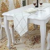 Chemin de Table de Cuisine Fait à la Main Gris ou Bordeaux, Long Chemin de Table en Satin pour Mariage, décoration de Table, 5 Couleurs, Blanc, 28 * 210cm
