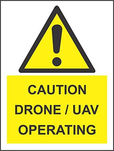 er - Sicherheit - Warnung - Caution Drone/UAV operating Safety Zeichen - 30x20 cm KP-425 Sticker für Büro, Firma, Schule, Hotel, Werkschutz ()