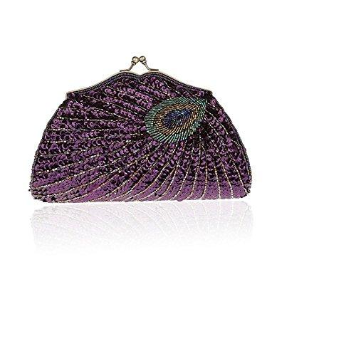 2018 Mode Frau Pailletten Tasche mit Pfau Muster Shiny Diamond Bag Abendtasche Kupplung Geldbörse (Muster Perlen-geldbörse)