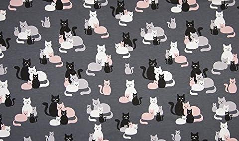0,5m Baumwoll-Jersey-Stoff Katzen Familie Kinder, Muster, Tiere, Einfarbig und Vieles mehr bei EmiStoff. Beste Qualität zum günstigen Preis
