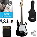 Stretton Payne Kids Electric Guitar Pack, with Amplifier and Accessories, Ages 7-11 years, 3/4 Size Guitar in Black for Junior Players