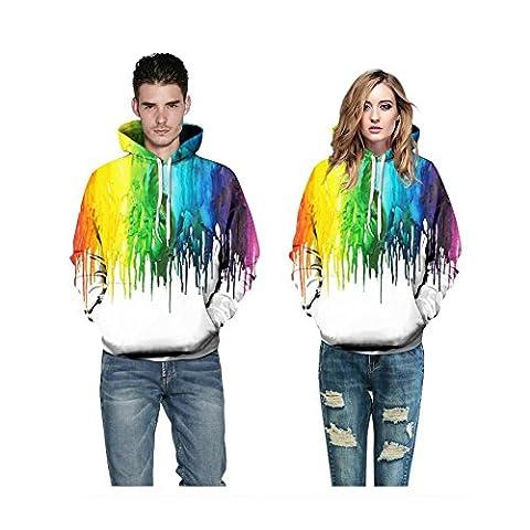 YYHSO Unisexe Hoodies impression en 3D Réaliste Peinture colorée Drawstring Sweatshirts Respirant Couple Sportswear Pullover with Big Pockets , Couple Hoodies , xxl/xxxl