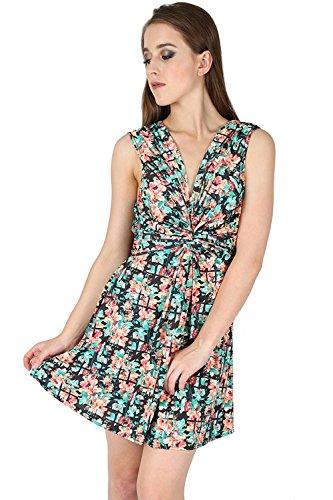 Damen Low Cut V Ausschnitt Knoten Vorderseite Krawatte Gürtel Zurück Aufgeweitet Swing Gedreht Mini Kleid Übergröße Schwarz Multi Floral