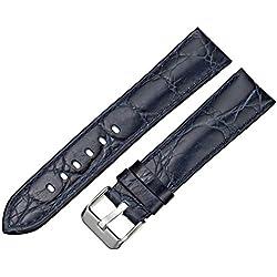 Tech Swiss LEA333-20SS 20mm Leather Calfskin Blue Watch Strap