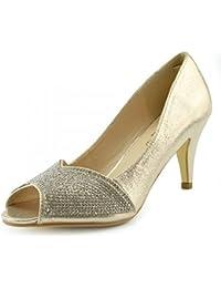Kick Footwear - Donna Tacchi Classico Partito Sembra Open Toe Scarpe Da  Sposa 7bf911c5a45