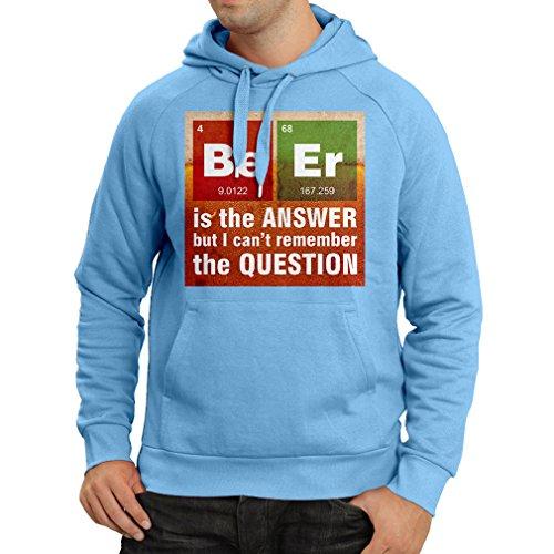 lepni.me N4520H Sweatshirt à capuche manches longues La bière est la réponse (Large Bleu Multicolore)