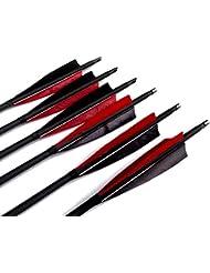 Flèche en Carbone Mixte Bangta, 31 pouces, 5 pouces Plume noire& rouge, Pointe de Flèche remplaçable avec une vis, Flèche pour l'extérieur et pour la chasse, Tir à l'Arc, Sports et loisirs
