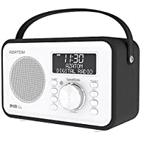 Spitalfields Retro DAB / DAB+ Digital FM Portable Radio / Alarm Clock / Leather Effect Finish / Mains Powered / Rechargable Battery / Subwoofer / Premium Stereo Sound (Black)