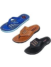 IndiWeaves Men Flip Flop House Slipper And Sandal-Black/Tan/Blue- Pack Of 3 Pairs