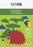 Heyda 204713595 3D-Bastelwellkarton/Bastelwellpappe (A4, 300 g/m², 10 Bogen, 5 Farben)