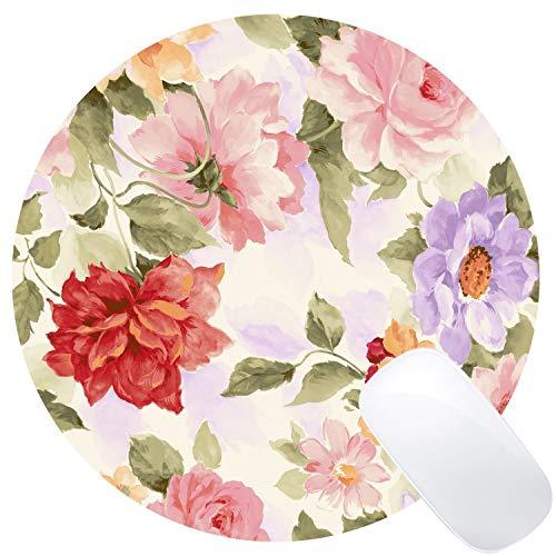 Muccum Retro Floral Runde Mauspad Custom, Runde Mauspads Pink Rot Blau Blumen