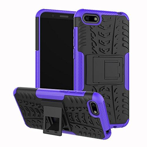 XINYUNEW Funda Huawei Y5 2018, 360 Grados Protective+Pantalla de Vidrio Templado Caso Carcasa Case Cover Skin móviles telefonía Carcasas Fundas para Huawei Y5 2018-Púrpura