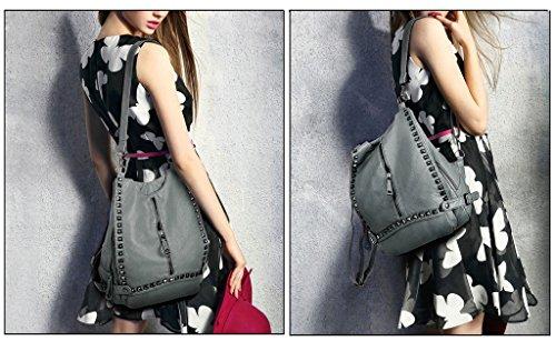 UTO Fashion Schultertasche Rucksack PU Leder Damen Mädchen Frau Rücksack Schule Reise Tasche dunkelgrau
