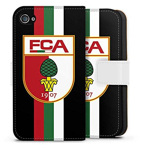 Apple iPhone X Silikon Hülle Case Schutzhülle FC Augsburg Fanartikel Fußball Sideflip Tasche weiß