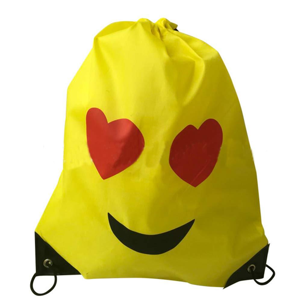 Emoji Cord/ón Mochila Bolsas Regalo Cumplea/ños Deporte Gimnasio Backpack para Ni/ños Ni/ñas Fiesta de Cumplea/ños Favores Decoraciones 12Pack Konsait Emoji Bolsa de Cuerdas para Infantil