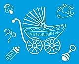 21cm x 17cm Flexibel Kunststoff Universal Schablone - Wand Airbrush Möbel Textil Decor Dekorative Muster Design Kunst Handwerk Zeichenschablone Wandschablone - Baby Warenkorb Wagen Spielzeug